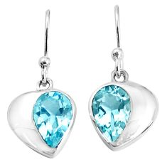 925 sterling silver 4.89cts natural blue topaz dangle earrings jewelry p36738
