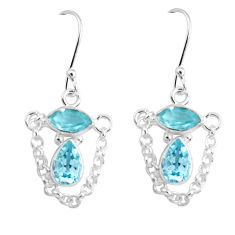 925 sterling silver 5.96cts natural blue topaz dangle earrings jewelry p45660