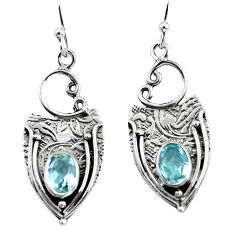 925 sterling silver 3.28cts natural blue topaz dangle earrings jewelry p57604