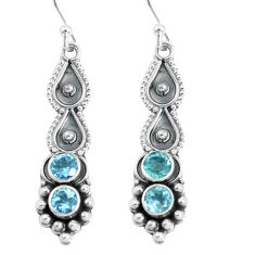 925 sterling silver 2.72cts natural blue topaz dangle earrings jewelry p60138