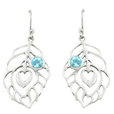 925 sterling silver 1.84cts natural blue topaz dangle feather earrings p62724