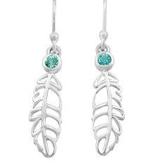 925 sterling silver 0.54cts natural blue topaz deltoid leaf earrings p82167