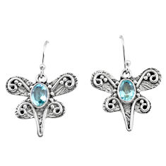 925 sterling silver 3.37cts natural blue topaz dragonfly earrings jewelry p57564