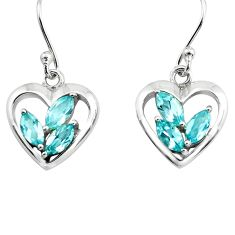 925 sterling silver 6.26cts natural blue topaz heart love earrings p82368