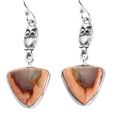 925 sterling silver 13.13cts natural brown imperial jasper owl earrings p91808