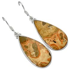 925 sterling silver natural brown rocky butte picture jasper earrings h71764