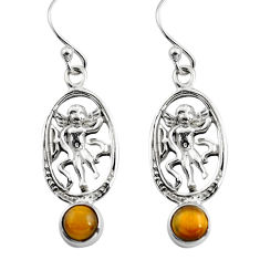 925 sterling silver 1.88cts natural brown tiger's eye angel earrings p84960
