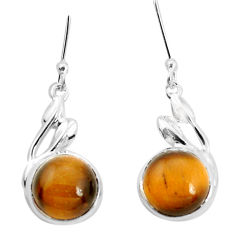925 sterling silver 9.37cts natural brown tiger's eye dangle earrings p32534