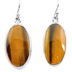 925 sterling silver 22.87cts natural brown tiger's eye dangle earrings p72736