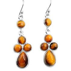 925 sterling silver 12.29cts natural brown tiger's eye dangle earrings p77427
