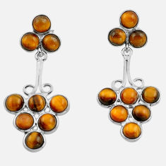 925 sterling silver 14.68cts natural brown tiger's eye dangle earrings p88368