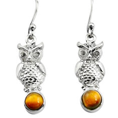 925 sterling silver 2.09cts natural brown tiger's eye owl earrings p84940