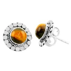 925 sterling silver 5.21cts natural brown tiger's eye stud earrings p74667
