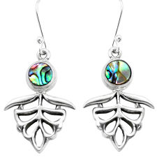 925 sterling silver 4.21cts natural green abalone paua seashell earrings p38468