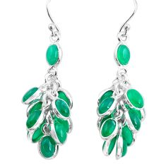 925 sterling silver 23.72cts natural green chalcedony chandelier earrings p77411