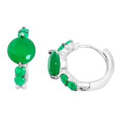 925 sterling silver 4.18cts natural green chalcedony dangle earrings c1395