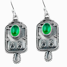 925 sterling silver 4.22cts natural green chalcedony dangle earrings d32472