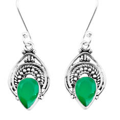 925 sterling silver 4.57cts natural green chalcedony dangle earrings p39267