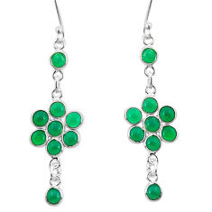 925 sterling silver 10.33cts natural green chalcedony dangle earrings p50730