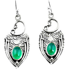 925 sterling silver 3.35cts natural green chalcedony dangle earrings p57608