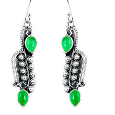 925 sterling silver 4.28cts natural green chalcedony dangle earrings p59967