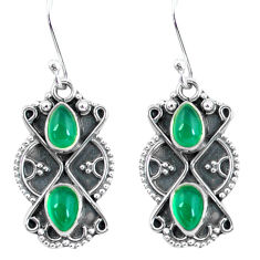 925 sterling silver 3.87cts natural green chalcedony dangle earrings p60028