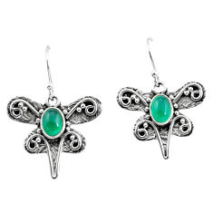 925 sterling silver 3.56cts natural green chalcedony dragonfly earrings p57599