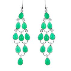 925 sterling silver 20.30cts natural green chalcedony earrings jewelry p92964