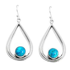 925 sterling silver 5.54cts natural green chrysocolla dangle earrings p52891