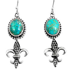 925 sterling silver 8.43cts natural green chrysocolla dangle earrings p54944