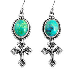 925 sterling silver 9.03cts natural green chrysocolla holy cross earrings p54983
