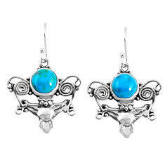 925 sterling silver 6.58cts natural green chrysocolla owl earrings p52068
