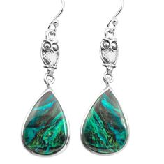925 sterling silver 12.58cts natural green chrysocolla owl earrings p72505