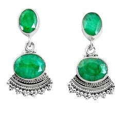925 sterling silver 11.62cts natural green emerald dangle earrings p51564