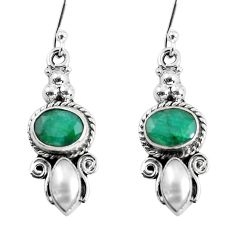 925 sterling silver 7.90cts natural green emerald pearl dangle earrings p58344