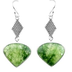 925 sterling silver 14.72cts natural green moss agate dangle earrings p72584