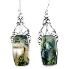 925 sterling silver 19.27cts natural green moss agate dangle earrings p72683