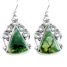 925 sterling silver 18.15cts natural green moss agate dangle earrings p72694