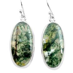 925 sterling silver 24.00cts natural green moss agate dangle earrings p72794