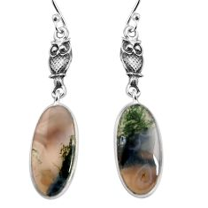 925 sterling silver 11.20cts natural green moss agate dangle earrings p91879