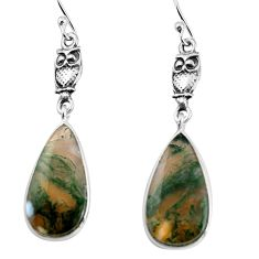 925 sterling silver 12.22cts natural green moss agate owl earrings p91880