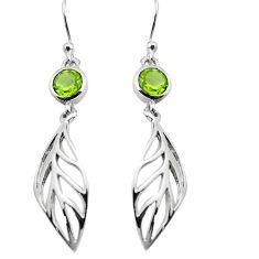 925 sterling silver 1.87cts natural green peridot deltoid leaf earrings p84150