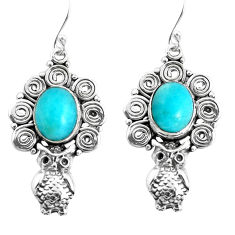 925 sterling silver 7.77cts natural green peruvian amazonite owl earrings p52010