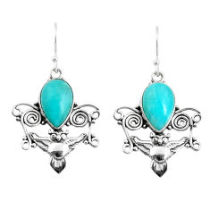 925 sterling silver 7.40cts natural green peruvian amazonite owl earrings p52064