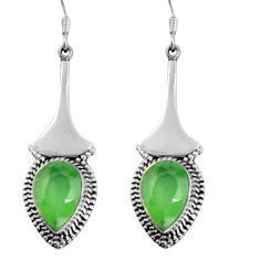 925 sterling silver 11.27cts natural green prehnite dangle earrings d32444