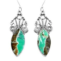 925 sterling silver 14.19cts natural green variscite dangle earrings p34872