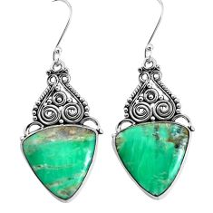 925 sterling silver 16.70cts natural green variscite dangle earrings p34903