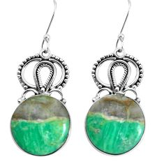 925 sterling silver 19.00cts natural green variscite dangle earrings p34928