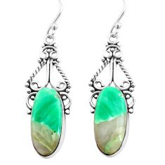 925 sterling silver 14.47cts natural green variscite dangle earrings p72628