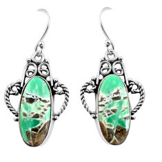 925 sterling silver 13.27cts natural green variscite dangle earrings p91924